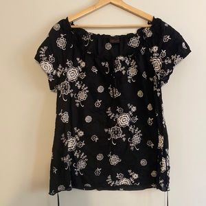 Torrid Black Blouse with White Floral Embroidery